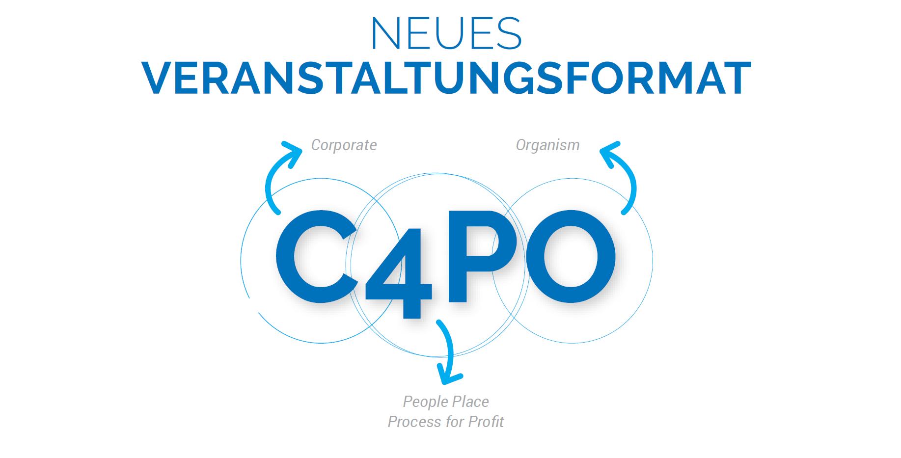 C4PO - für was steht C4PO? C4PO steht für einen betrieblichen Organismus im digitalen Zeitalter, der Menschen, Infrastruktur und Prozesse synergetisch aufeinanderabstimmt, um wirtschaftliche Zielsetzungen zu erreichen. Organismus statt Organigramm. Partnerschaft statt In- oder Outsourcing.
